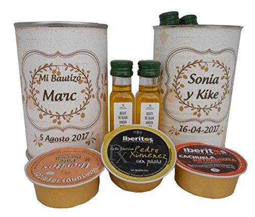 Lata con abre fácil con 2 botellas de Aceite de Oliva Virgen extra y paté - Pack de 6