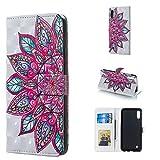 Byr883onJa Funda para smartphone con diseño de flores 3D horizontal con tapa para Galaxy M10, con soporte y ranuras para tarjetas, marco de fotos y cartera