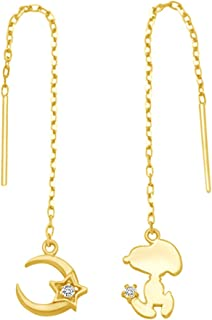 dd9cde45f Mothers Day Jewelry Gifts Snoopy With Moon Star White CZ Pendant Style Drop  Earrings In 14K