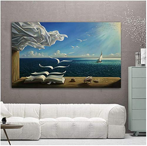 JYWJ Leinwandmalerei Salvador Dali Sea Waves Buch Bild,Wandkunst Moderne Poster und Drucke für Wohnzimmer Home Decor (Kein Rahmen,70x100cm)