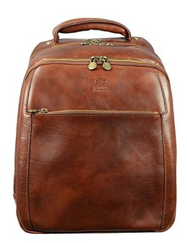 Braun Leder Rucksack 12 in Laptop Rucksack Vintage Schule Rucksack Backpack Daypack - Time Resistance