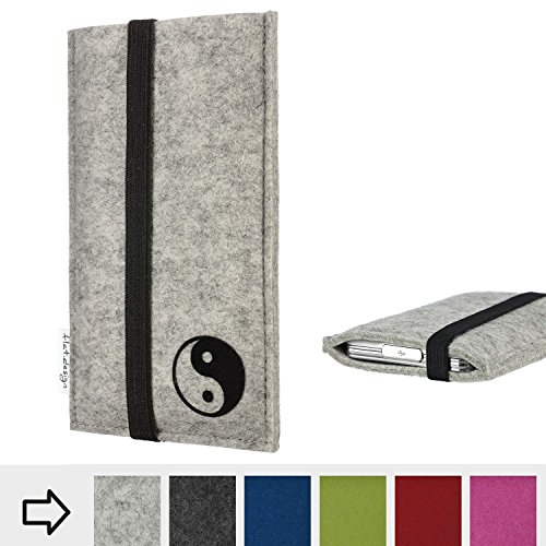 flat.design Handy Hülle Coimbra für Shift Shift6m mit Yin und Yang Schutz Case Etui Filz Made in Germany in hellgrau schwarz