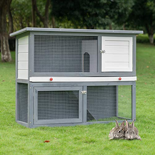 Scurrty 2 Stories Rabbit Hutch Pet Hutch Animal Hutch for Small Animals Wooden Bunny House with Run Bunny House Indoor & Outdoor
