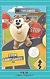 Tarjeta Felicitación cumpleaños con rueda de 1a 9años Taz traguardo Looney Tunes Warner Bros