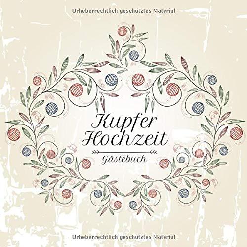 Kupferhochzeit Gästebuch: Motiv 3 | Zum Ausfüllen | Für bis zu 40 Gäste zur Hochzeitsfeier |...