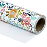 WRAPAHOLIC Wrapping Paper Roll - Beautiful Floral Design for Birthday, Mother's Day, Wedding, Baby Shower Wrap - 30 inch x 33 feet