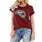 Sommergebrannte Blumen Frauenjacke Leopardenmuster Lippen Rundhalsausschnitt Kurzarm T-Shirt