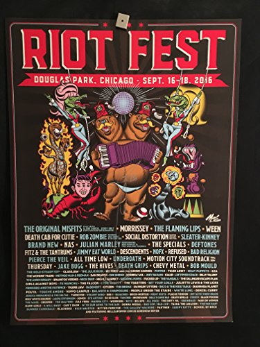 Dee Snider Autographed Signed Riot Fest 2016 Concert Poster Chicago, (The Misfits, Morrissey, Ween, Rob Zombie, Social Distortion, Deftones, The Flaming Lips, Bad Religion, All Time Low, Twisted Sister)