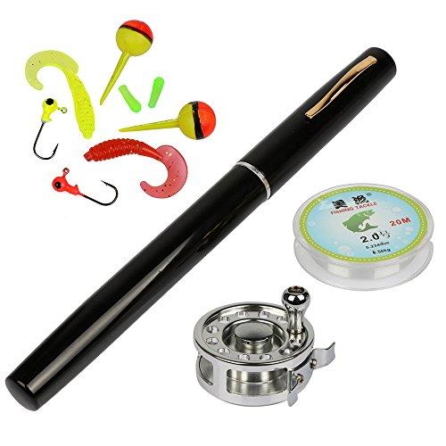 Yogayet Mini Pocket Ice Fly Fishing Rod and Reel Combos Set Aluminum Alloy Pen Fishing Pole 38'' Sea Saltwater Freshwater Kit Black