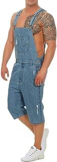 Salopette di Jeans Strappare Uomo Fori Pantaloncini Stonewash Overalls A Buon Mercato