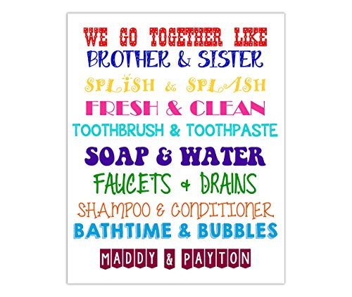 Brother & Sister Bathroom Wall Art. Sibling Wall Art. Kids Bathroom Decor. Kids Bathroom Wall Art. Brother and Sister Decor. We go together. 8X10 Print (UNFRAMED)