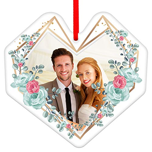 SICOHOME Our First Christmas As Mr & Mrs,3.5' Heart Shaped First Christmas Frame Ornament,Newlayed Engaged Wedding Christmas Ornament