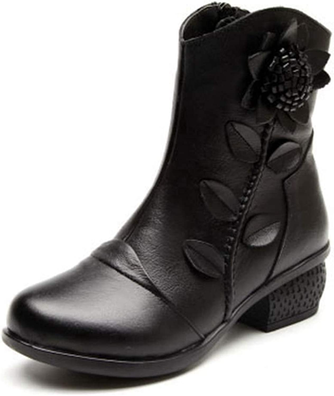 Beautiful - Fashion Women's Retro Flower Ankle Boots Leather Round Toe Zipper Low Heel Bootie Winter Dress Short Boots