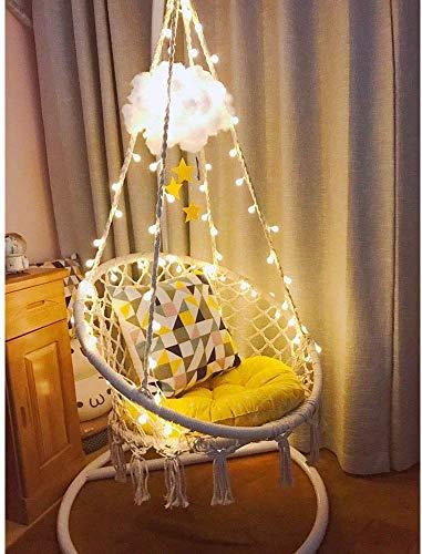 X-cosrack LED Hanging Chair Leuchten Sie Makramee Hängesessel mit 1M LED-Licht für drinnen Draussen Zuhause Terrasse Deck Hof Garten Freizeit Faulenzen (65x85cm) Nicht im Lieferumfang enthalten Stand