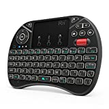 Mini Wireless Keyboard,Rii i8X Portable 2.4GHz Wireless Keyboard with Touchpad Mouse, LED Backlit, Rechargable Li-ion Battery-Black