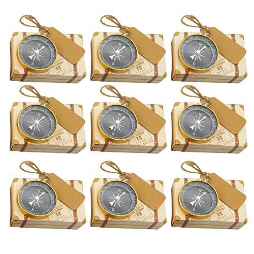 Weanty 20 Piezas Caja de regalo de boda Caja de dulces Con decoración sacacorchos y decoración brújula Ideal para uso en bodas como cumpleaños aniversari