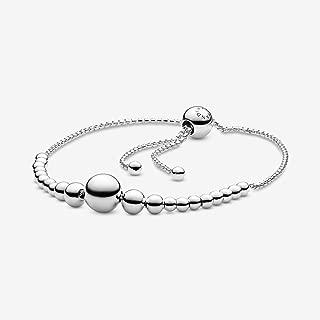 String Beads Sliding Bracelet 925 Sterling Silver Bracelet