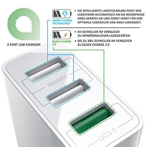 CSL - USB Ladegerät 30W QC 3.0-3-Port Netzteil inkl. Quick-Charging Schnellladefunktion - Smart Charge Solid Charge intelligentes Laden - geeignet für Handys Smartphones Navis Tablets