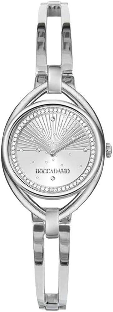 Boccadamo,orologio per donna, quadrante silver effetto perlato con cristalli swarovski ,cinturino in metallo BL001