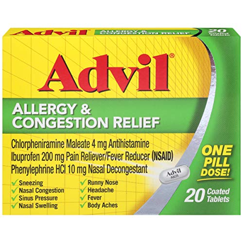 Advil Allergy & Congestion Relief Tablets 20 Tablets (Pack of 5)