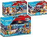 Playmobil® Stuntshow Lot de 3 Articles 70552 70553 70554 Atelier de réparation + Pilote Moto et Mur de feu + Véhicule et Pompier