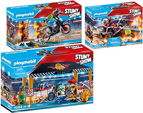 PLAYMOBIL Stuntshow Juego de 3 Piezas 70552 70553 70554 Tienda Taller + Moto con Muro de Fuego + Kart Bombero