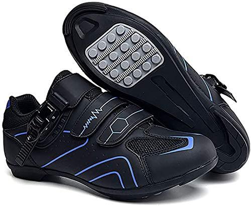 Scarpe da Ciclismo Scarpe da Strada E Mountain Bike in Fibra di Carbonio Antiscivolo E Traspiranti, Sneakers A Strisce Riflettenti (41,Blu)