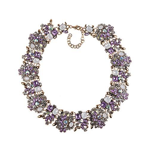 YAZILIND Retro Elegant Exquisit Charm Kragen Schmuck Vintage Colourized Glass Crystal Cluster Chunky Statement Halskette für Frauen Lila + Weiß
