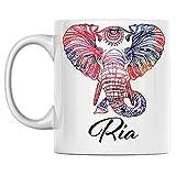 N\A Taza de Elefante Personal con Nombre Ria, Taza de café de cerámica Blanca Impresa en Ambos Lados, cumpleaños para él, Ella, niño, niña, Esposo, Esposa, Hombres y Mujeres