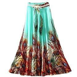 3dbugz Spring and Summer Royal Crepe Printed Long Designer Skirt for Girls with Multi Color Flowers Design Blue
