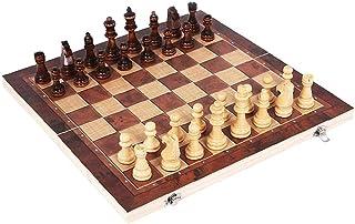 34 * 34cm 3 I Schack Folding Trä Färg Chess Med Stort Schackbräde För Nybörjare Barn Vuxna