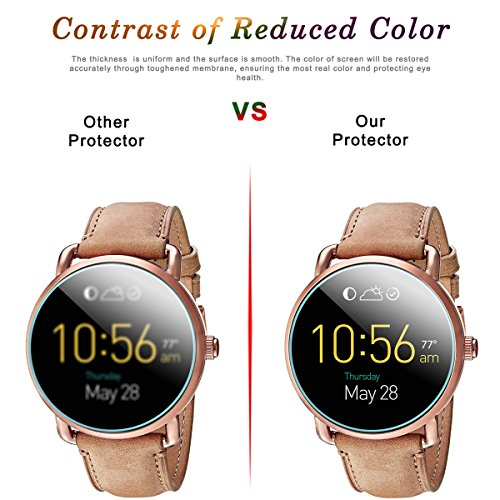 Diruite 3-Pack for Fossil Q Wander Gen 2 Screen Protector, 2.5D 9H Hardness Tempered Glass Screen Protector for Fossil Q Wander Smart Watch
