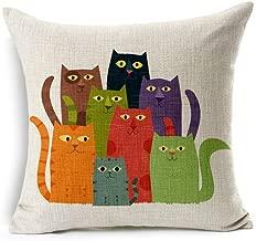 QINU KEONU 8 Pcs Cartton Cats Cotton Linen Throw Pillow Case Cushion Cover Home Sofa Decorative 18 X 18 Inch