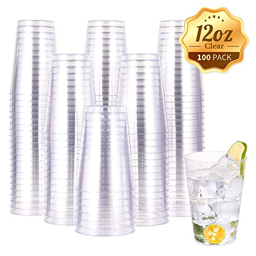 12 OZ Clear Plastic Cups, Heavy-duty Party Glasses, Disposable Plastic Cups for Wedding,Thanksgiving Day, Christmas Party Cocktails Tumblers(100 Count)