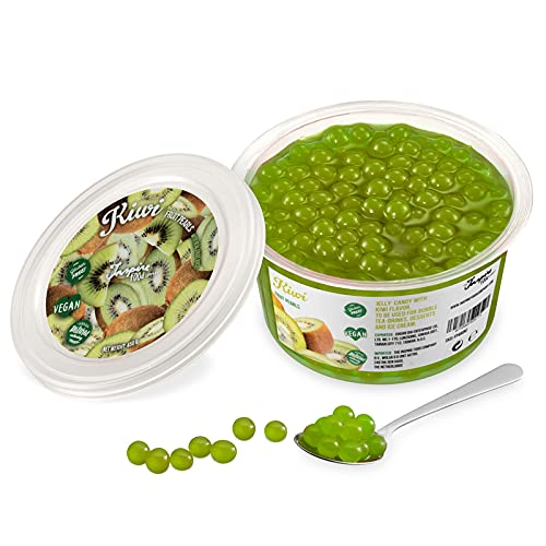 Original Popping Boba Fruchtperlen für Bubble Tea - 450g - Kiwi - Ohne künstliche Farbstoffe, echte Fruchtsäfte - Weniger Zucker - 100% Vegan und Glutenfrei