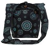 Guru-Shop Sadhu Bag, Goa Tasche, Schulterbeutel - Schwarz, Herren/Damen, Baumwolle, Size:One Size, 40x35x25 cm, Bunter Stoffbeutel
