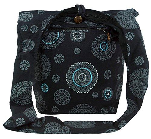 GURU SHOP Sadhu Bag, Goa Tasche, Schulterbeutel - Schwarz, Herren/Damen, Baumwolle, Size:One Size, 40x35x25 cm, Bunter Stoffbeutel