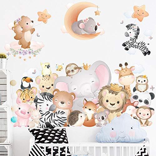 Cartoon Animal Room Wall Stickers Orange Moon Stars Wallpaper For Kids Room Kindergarten Creative Wall Mural