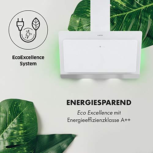 Klarstein Aurora Eco 90 - Wandabzugshaube, Kopffreihaube, Dunstabzugshaube, 90 cm, 550 m³/h Leistung, RGB-Farben, 59 dB leise, Umluft und Abluft, weiß - 5