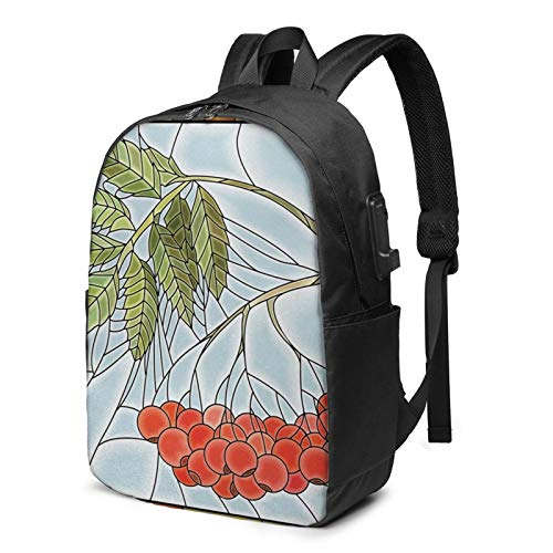 Laptop Backpack with USB Port Branch Motif Stained Glass, Business Travel Bag, College School Computer Rucksack Bag for Men Women 17 Inch Laptop Notebook