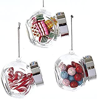 Kurt Adler Glass Candy JAR JAW Buster Candy, Ribbon Candy Candy Cane Ornament - 3 Assorted