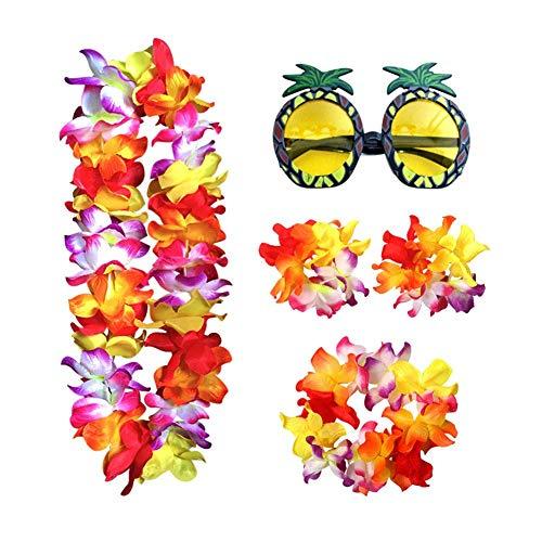 paletur88 Guirnalda Set Corona Fiesta Piña Gafas de Sol Disfraz Props Deco Fiesta Hawaiana Suministros Playa Flor Tropical Pasador Verano (Coloridos) - Colorido, Free Size