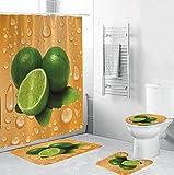 ZSDFPW 3D Gedruckter Duschvorhang Gelbgrüne weiße Wassertropfen Früchte Duschvorhang gesetzt Polyester für Badezimmer wasserabweisend & Anti-Schimmel waschbare Teppich 180×200 cm