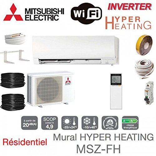 climática dispositivos Mitsubishi pared Hyper Heating Deluxe msz- de fh25ve + Kit de montaje para 7 metros
