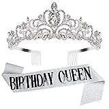 Tiara for Women Birthday, Tiara for Women AB Rhinestone, Happy Birthday Queen Tiara for Women, Birthday Crown for Girls Tiaras Birthday Queen Crowns with Birthday Girl Sash, Silver Crowns for Women