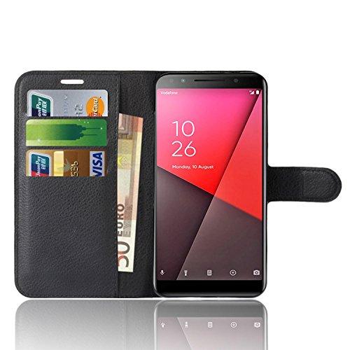Vodafone Smart N9 Lite Custodia, Anzhao Flip Cover Portafoglio con Slot per Schede Protettiva Custodia in Pelle per Vodafone Smart N9 Lite (Nero)