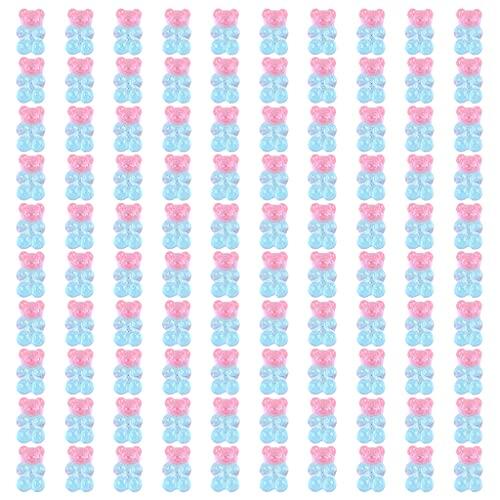 COMEYER 100 colgantes de oso de gomita de colores con colgante de oso de resina, para niños y niñas, 12 colores,