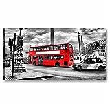 Quadri L&C ITALIA Londra – Quadro Moderno Stampa su Tela 90 x 45 Soggiorno Ufficio Arredamento Parete Grande Bianco Nero Rosso