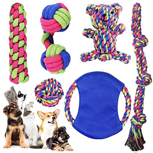 PHYLES Giochi per Cani, Resistenti Giochi Cane, Giocattoli per Cani Cotone Naturale per La Pulizia dei Denti, Corda da Masticare Giochi per Cani di Piccola e Medio,6 Pezzi