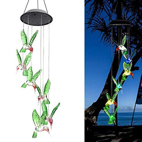 TJW LED Carillon Solaire, Énergie Solaire Couleur Changeing Housse de Carillon extérieur étanche LED Lampe à Suspension Colibri Lampe pour Home Décorations de Fête